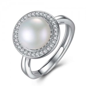 Natural Pearl Embellished Rhinestones Rimmed 925 Sterling Silver Adjustable Size Women Ring