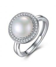 Natural Pearl Embellished Rhinestones Rimmed 925 Sterling Silver Adjustable Size Women Ring