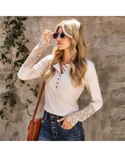 Solid Color Lace Sleeves Design Casual Fashion Women Top/ T-shirt - Light Khaki