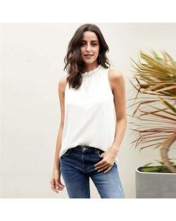 Ruffle Collar Sleeveless Design High Fashion Women Top/ T-shirt - White