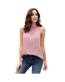 Ruffle Collar Sleeveless Design High Fashion Women Top/ T-shirt - Pink
