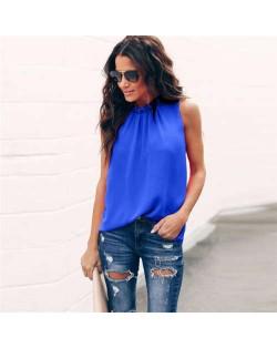 Ruffle Collar Sleeveless Design High Fashion Women Top/ T-shirt - Blue