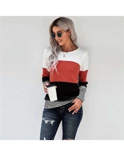 Contrast Colors Jointed Long Sleeves Fashion Women Top/ T-shirt - Orange