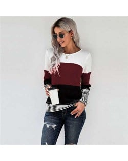 Contrast Colors Jointed Long Sleeves Fashion Women Top/ T-shirt - Dark Red