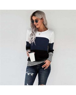 Contrast Colors Jointed Long Sleeves Fashion Women Top/ T-shirt - Blue