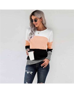 Contrast Colors Jointed Long Sleeves Fashion Women Top/ T-shirt - Apricot