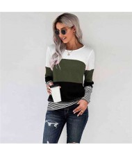 Contrast Colors Jointed Long Sleeves Fashion Women Top/ T-shirt - Green