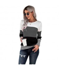 Contrast Colors Jointed Long Sleeves Fashion Women Top/ T-shirt - Gray