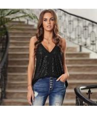 Sequins Shining Fashion Thin Strap Design Women Top - Black
