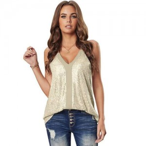 Sequins Shining Fashion Thin Strap Design Women Top - Apricot
