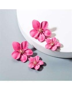 Golden Stamen Dual Flowers Bohemian Fashion Tassel Design Women Earrings - Rose