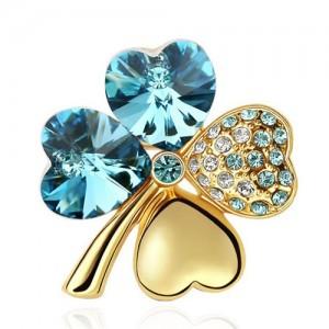 Austrian Crystal and Czech Stones Four Leaf Clover Gloden Brooch - Aquamarine