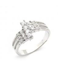 Fabulous Zircon Embedded 925 Sterling Silver Proposal Ring