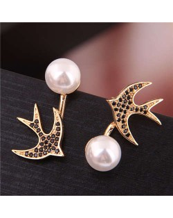Cubic Zirconia Embellished Swallow Design Elegant Pearl Fashion Women Stud Earrings - Golden