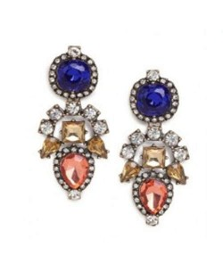 Rhinestone and Gems Inlaid High Fashion Flowers Pattern Women Costume Earrings - Blue and Red