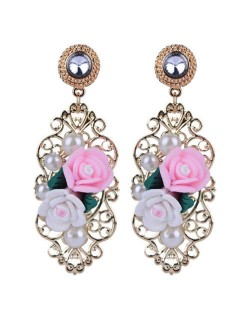 Pearl and Resin Flowers with Hollow Vines Vintage Fashion Women Stud Earrings