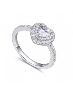 Peach Heart Love Fashion 925 Sterling Silver Ring