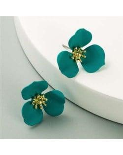Korean Fashion Delicate Flower Design Sweet Style Women Alloy Earrings - Green