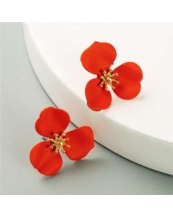 Korean Fashion Delicate Flower Design Sweet Style Women Alloy Earrings - Red