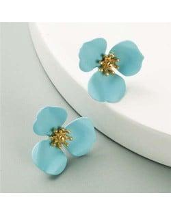 Korean Fashion Delicate Flower Design Sweet Style Women Alloy Earrings - Light Blue