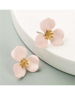 Korean Fashion Delicate Flower Design Sweet Style Women Alloy Earrings - Light Pink