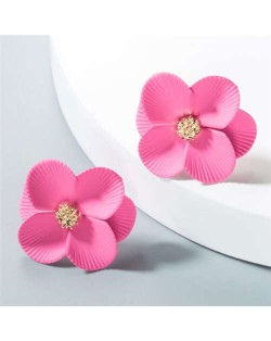 Internet Celebrity Preferred Multi-layered Flower Bohemian Fashion Women Stud Earrings - Pink
