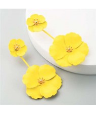 Painted Flowers Sweet Fashion Korean Style Dangling Women Alloy Earrings - Yellow