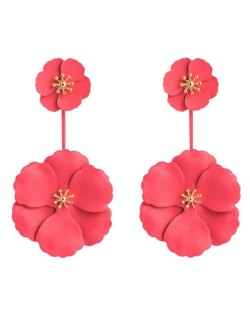 Painted Flowers Sweet Fashion Korean Style Dangling Women Alloy Earrings - Red