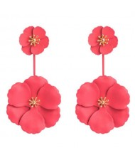 Painted Flowers Sweet Fashion Korean Style Dangling Women Alloy Earrings - Red