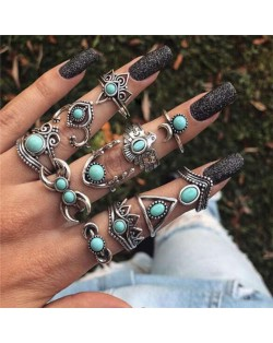 Artificial Turquoise Inlaid Eagle and Floral Vintage Design 11 pcs Women Alloy Rings Set