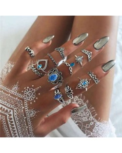 Vintage Flowers and Crowns Combo High Fashion Design 13 pcs Women Alloy Rings Set