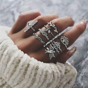 Swallow Bee and Eye Combo Design High Fashion 9 pcs Silver Women Alloy Rings Set