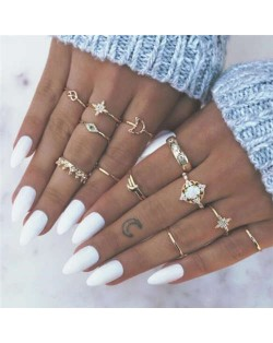 Opal Inlaid Stars and Crown Combo 13 pcs Golden Women Alloy Rings Set