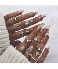 Opal and Rhinestone Embellished Multiple Fashion Elements Combo Design 16 pcs Golden Women Alloy Rings Set