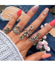 Vintage Flowers and Vines Combo 4 pcs Silver Women Alloy Rings Set