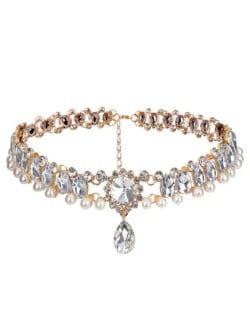 Rhinestone Embellished Glistening Style High Fashion Women Choker Necklace - Golden
