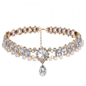 Rhinestone Embellished Glistening Style High Fashion Women Choker Necklace - Golden