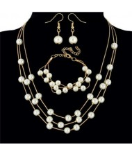 Elegant Artificial Pearl Sweet Fashion Women Necklace Bracelet and Earrings Set - Golden