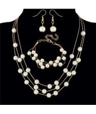 Elegant Artificial Pearl Sweet Fashion Women Necklace Bracelet and Earrings Set - Golden