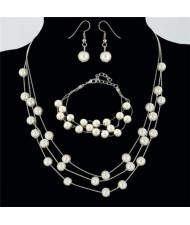 Elegant Artificial Pearl Sweet Fashion Women Necklace Bracelet and Earrings Set - Silver