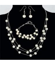 Elegant Artificial Pearl Sweet Fashion Women Necklace Bracelet and Earrings Set - Silver