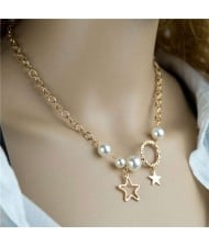 Artificial Pearl and Star Pendants Golden Chain U.S. High Fashion Women Necklace