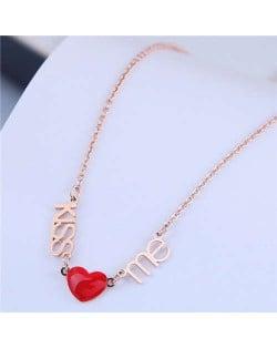 Alphabets and Heart Pendants Korean Fashion Women Statement Necklace