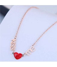 Alphabets and Heart Pendants Korean Fashion Women Statement Necklace