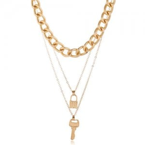 Golden Key and Lock Combo Multiple Layers Bold Chain Women Alloy Fashion Statement Necklace
