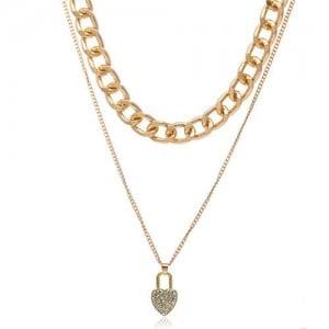Rhinestone Inlaid Heart Lock Pendant Dual Layers Women Fashion Costume Necklace
