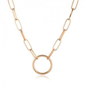 Hoop Pendant Simple Fashion Elegant Women Chain Style Alloy Costume Necklace - Golden