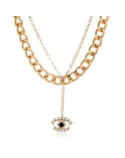 Creative Rhinestone Eye Pendant Dual Layers Chain High Fashion Women Costume Necklace