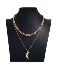 Golden Moon Pendant Dual Layers Hip Hop Fashion Alloy Necklace