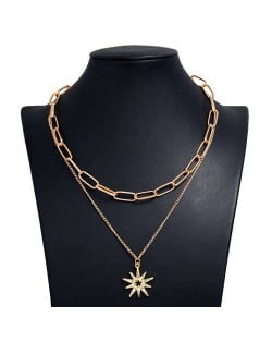 Rhinestone Star Pendant Dual Layers Hip Hop Fashion Alloy Costume Necklace
